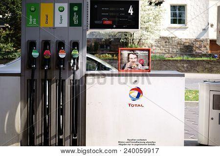 Taunusstein-wehen, Germany - April 21: Several Petrol Pumps For Refueling Of Super Unleaded, Diesel