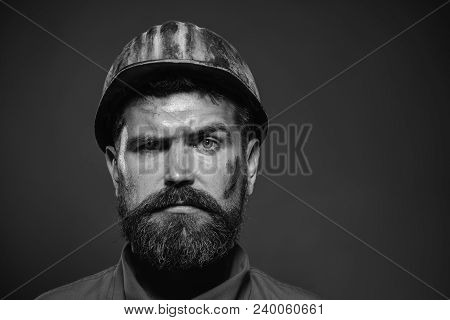 Builder Working With Construction Helmet. Portrait Bearded Man With Protect Helmet Wearing. Construc