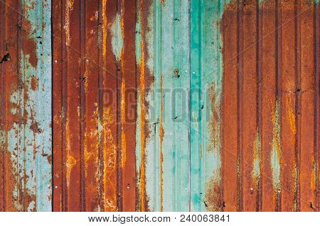 Rusty Zinc Background. Grunge texture of old rusty metal with scratches and cracks background. Old and rusty damaged galvanized texture. poster
