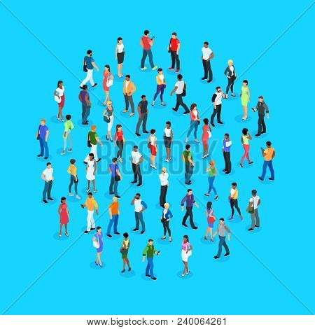 Set Of Isometric People With Different Skin Color. Crowd Of People. 3d Men And Women View Front And