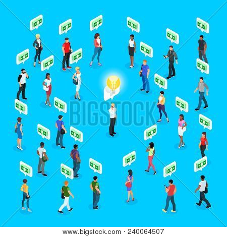 Isometric Social Concept. Crowdfunding. 3d Crowd Of People With Different Skin Color, Men And Women