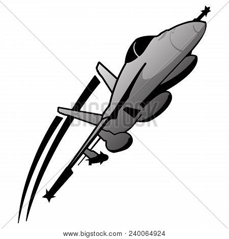 Military Naval Fighter Jet Aircraft, In Flight, Sharp Vector Illustration
