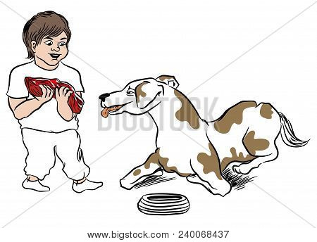 Child Giving Meal To Dog.  Dog Waiting For Big Piece Of Steak. Boy Love His Pet. Illustration Of Pet
