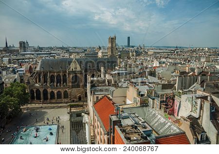Paris, Northern France - July 09, 2017. Skyline, Square And Gothic Cathedral Seen From The Center Ge