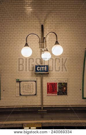 Paris, France - July 08, 2017. Close-up Of Luminaires In The Cite Subway Station Platform In Paris.