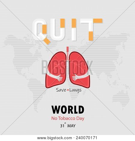 Lung Cute Cartoon Character And Stop Smoking & Save Lungs Vector Design.may 31st World No Tobacco Da