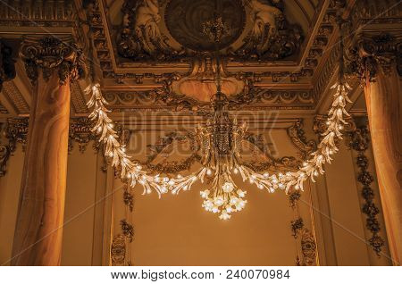 Paris, France - July 11, 2017. Luxurious Lounge Decoration At The Quai D Orsay Museum In Paris. Know
