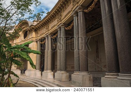 Paris, France - July 11, 2017. Close-up Of The Far-fetched Decoration Of Arch And Columns At The Pet