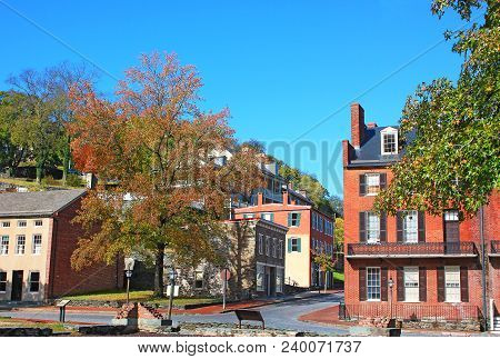 Harpers Ferry Historic Town In Early Autumn, West Virginia, Usa. The Town With Vistas On Potomac And