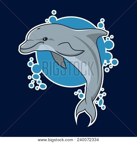 Vector Illustration Of Dolphin On Background With Bubbles. Cartoon Sealife Sticker With Dolphin.