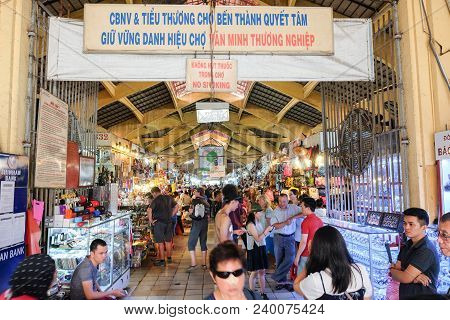 Ho Chi Minh City, Vietnam - April 29, 2018 :  People Are Shopping At Ben Thanh Market