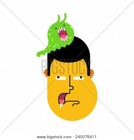 Stupid Face. Slug On Head Was Eating Brains. Silly Head. Sheepish Guy. Vector Illustration