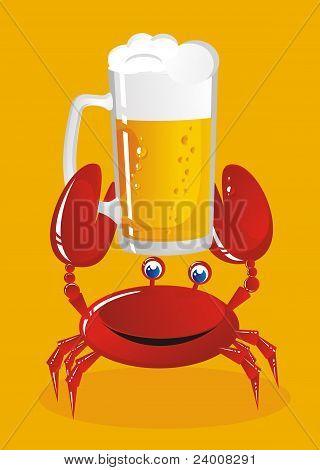De krab houdt een mok van Light bier