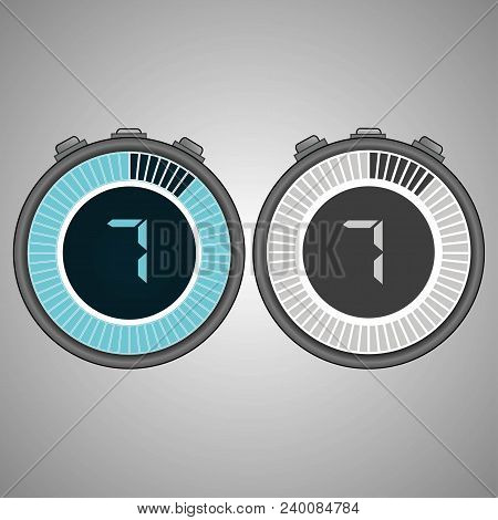 Electronic Digital Stopwatch. Timer 7 Seconds Isolated On Gray Background. Stopwatch Icon Set. Timer