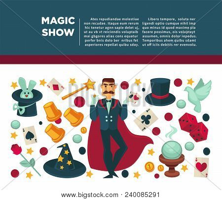Magic Show And Magician Tricks Equipment Poster. Vector Flat Icons Of Circus Illusionist Or Magician