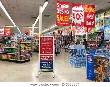 Dublin, Ca - April 21, 2018: Toys R Us Store Final Sales Days. Bankrupt Retailer Toys R Us Closing A