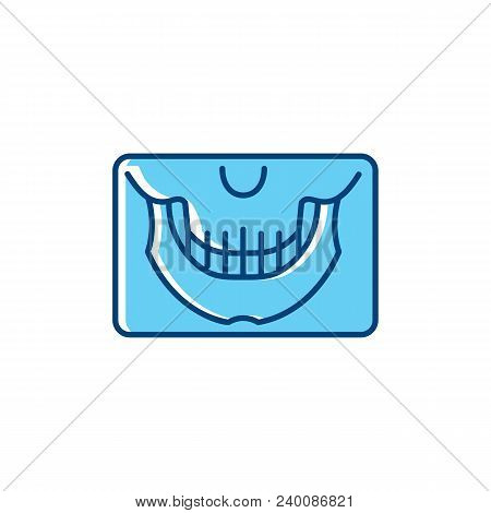 Panoramic X-ray Jaw Icon, Dental Panoramic Teeth. Dental Care Stomatology Thin Line Art Symbol. Vect