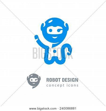 Robot Logo, Astronaut-robot Waving His Hand. Computer Technologies, Robotics Logotype, Modern Chat A