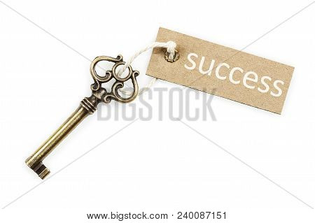 Antique Key With Tag Isolated On White, Success Concept
