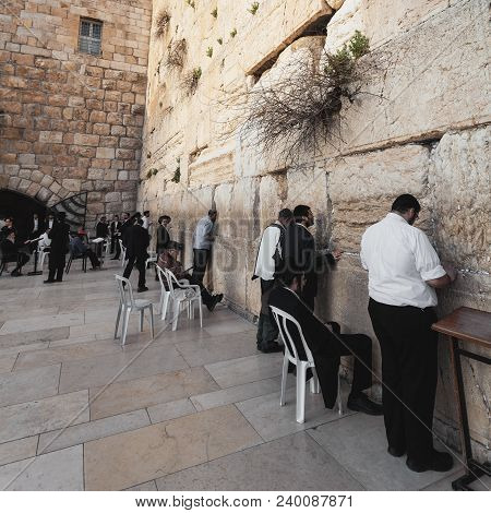 Jerusalem, Israel - March 08, 2016: The Western Wall Or Wailing Wall In The Old City Of Jerusalem, I