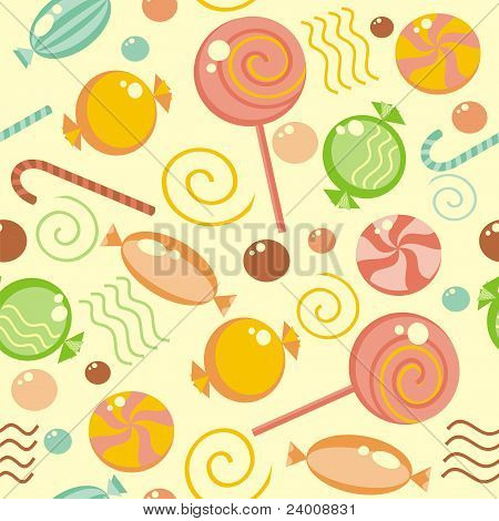 Seamless background with multi-coloured lollipops and candy poster