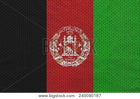 Afghanistan Flag Printed On A Polyester Nylon Sportswear Mesh Fabric With Some Folds