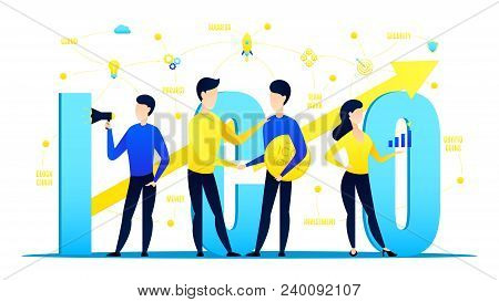 Concept Of Initial Coin Offering. Businessmen Offer Ico Tokens And Make A Deal. Vector Illustration