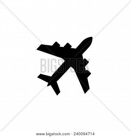 Black Airplane Icon. Jetliner Simple Symbol Illustration