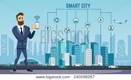 Successful Businessman With Smartphone Uses Wireless Technology. Vector Illustration. Technology Wir