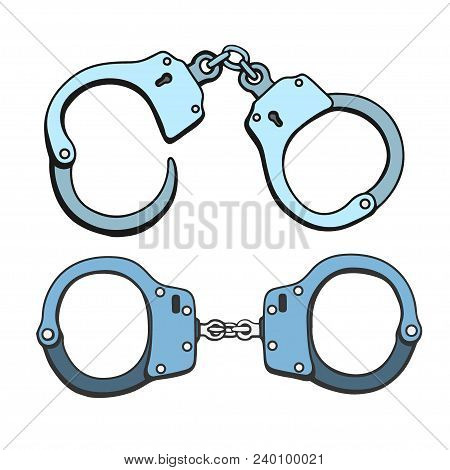 Set Of Metal Handcuffs For Detaining Criminals. Outfit Of A Policeman. Prison Single Icon In Cartoon