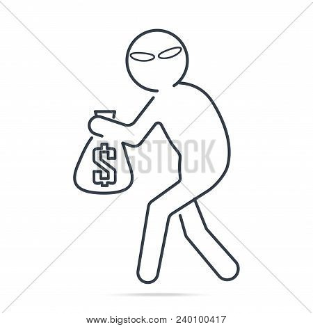 Beware pickpocket sign, Thief stealing money icon Simple line illustration poster