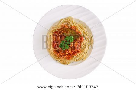 Spaghetti Bolognese Sauce With Beef Or Pork,cheese,tomatoes And Spices On White Plate. Homemade Spag