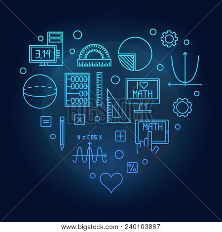 Math Heart Blue Vector Illustration Made Of Mathematics Outline Concept Icons On Dark Background