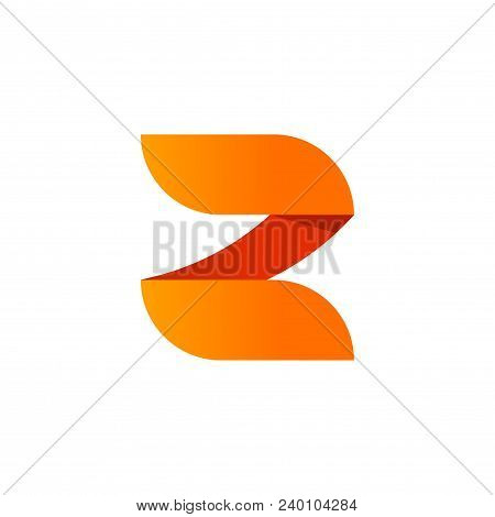 Abstract Letter Z Logo Vector Element Design Isolated On White Background, Orange Gradient Number 2