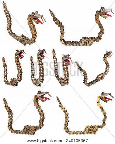 Handmade Metal Decorative Snake. Reptile Made Of Motorcycle Parts Chain, Bearings, Screws.
