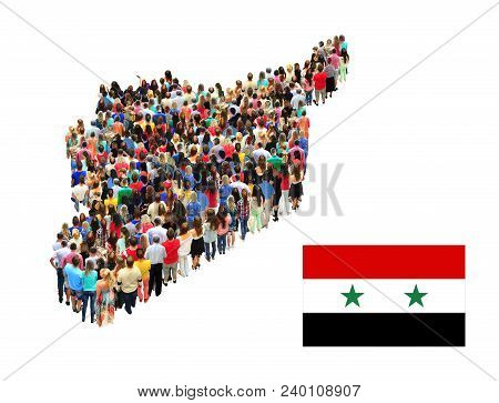 Map Of Syria Consist Of Different People Isolated On White Background. Syrian Flag. National Flag Of