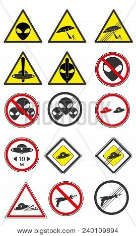 A Set Of Ufo Road Signs. Modern Flat Vector Collection Icons. Part 1