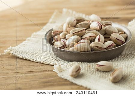 Roasted And Salted Pistachios In A Bowl, Roasted Salted Appetizing Pistachios Horizontal Composition