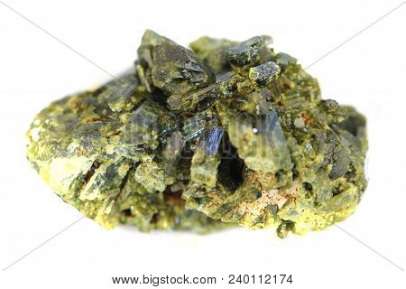 Epidote Mineral Isolated On The White Background