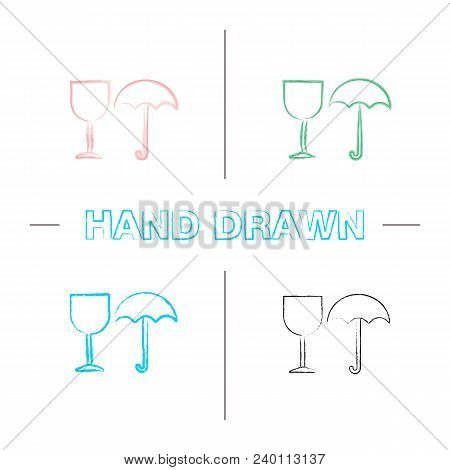 Fragile Hand Drawn Icons Set. Keep Dry. Handle With Care Color Brush Stroke. Isolated Vector Sketchy
