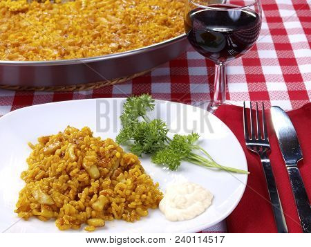 Arroz A Banda Traditional Valencian Dish.  The Arroz A Banda Is A Kind Of Seafood Paella Cooked  Wit