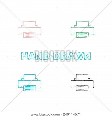 Printer Hand Drawn Icons Set. Color Brush Stroke. Isolated Vector Sketchy Illustrations
