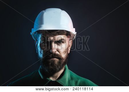 Portrait Of Mechanical Worker. Industrial Worker. Man Builder. Architect, Worker, Engineer - Work. C