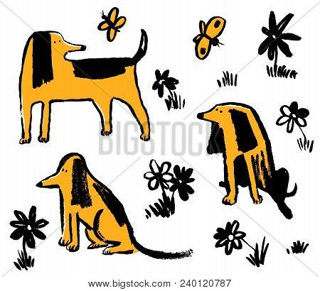 Set With Cute Funny Dogs. Collection With  Pets And Butterfly. Vector Illustration With Flowers And