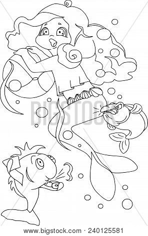 Little Mermaid Is Playing Ball With Fish, Unsportsmanlike Conduct. Cartoon Characters, Isolated, Fan