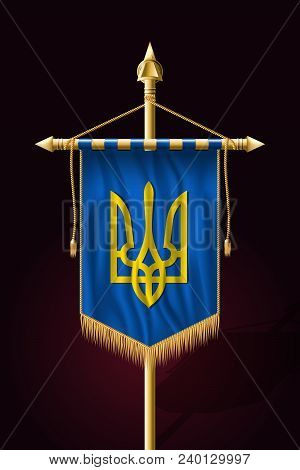 Tryzub. Trident. National Symbols Of Ukraine. Festive Vertical Banner. Wall Hangings