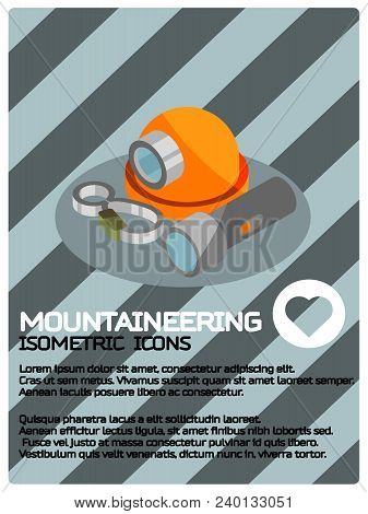 Mountaineering Color Isometric Poster. Vector Illustration, Eps 10