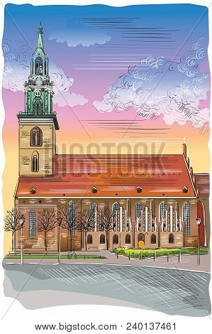 Church Of St. Mary In Berlin (lubeck), Germany. Landmark Of Berlin. Vector Colorful Hand Drawing Ill