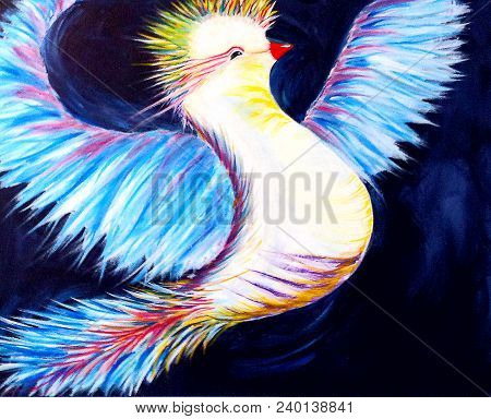 Acrylic Painting On Canvas Of Abstract Colorful Bird In Flight On Dark Background