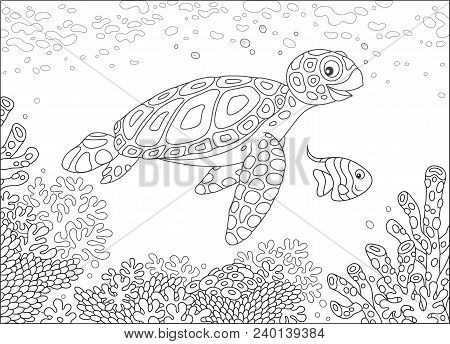 Funny Sea Loggerhead Turtle And A Small Butterfly Fish Swimming Over Corals On A Reef In A Tropical